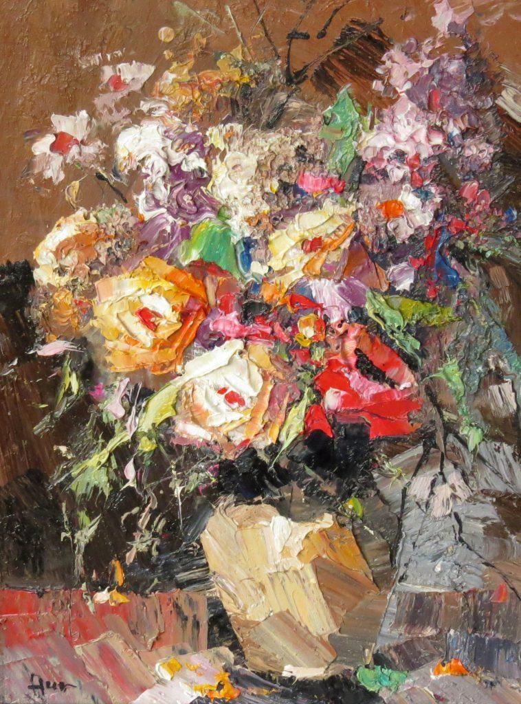 Иван Агеев. Цветы в поливном кувшине. 40х30 см. Холст, масло