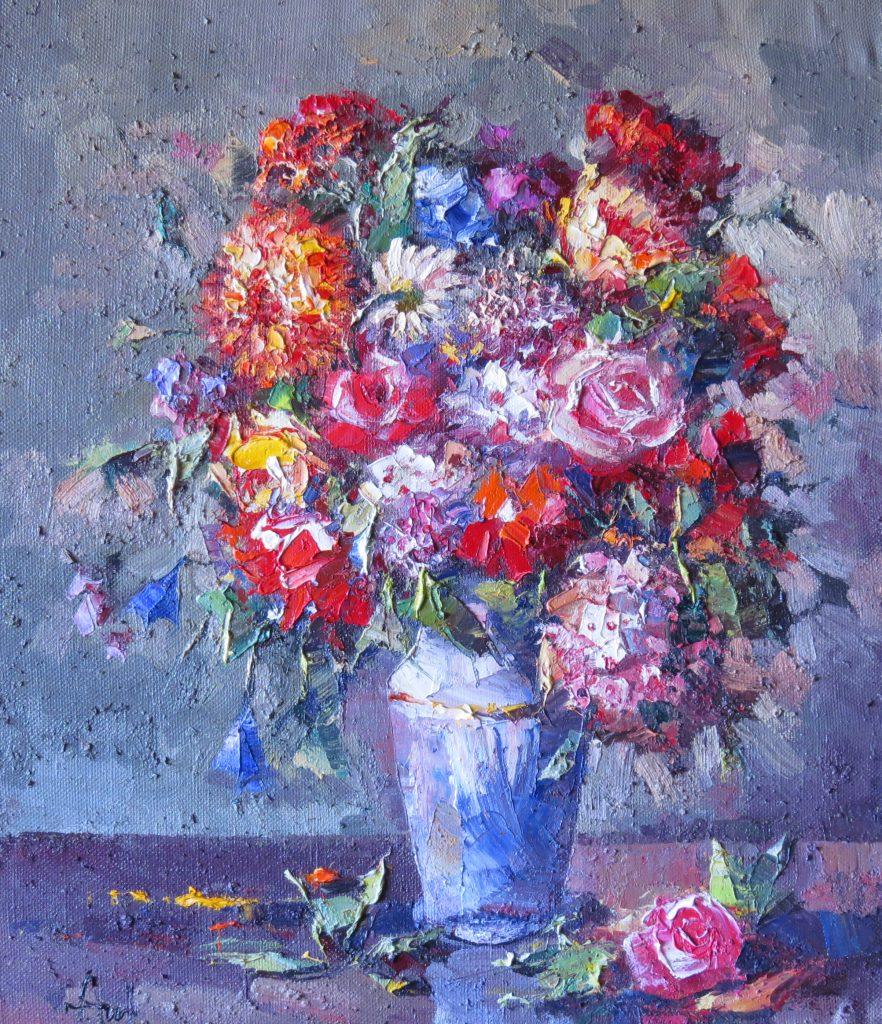 Букет с осенними цветами 70х60 40