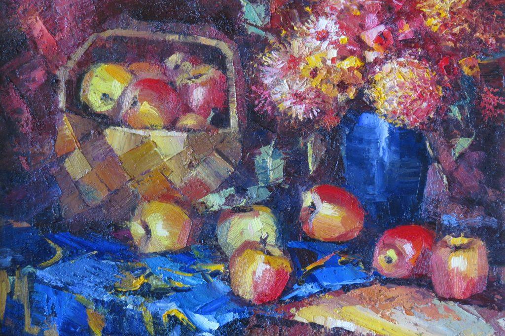 Яблоки и цветы 45х60 50