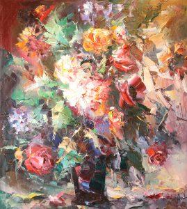 Иван Агеев. Большие цветы 100х90 см. 300