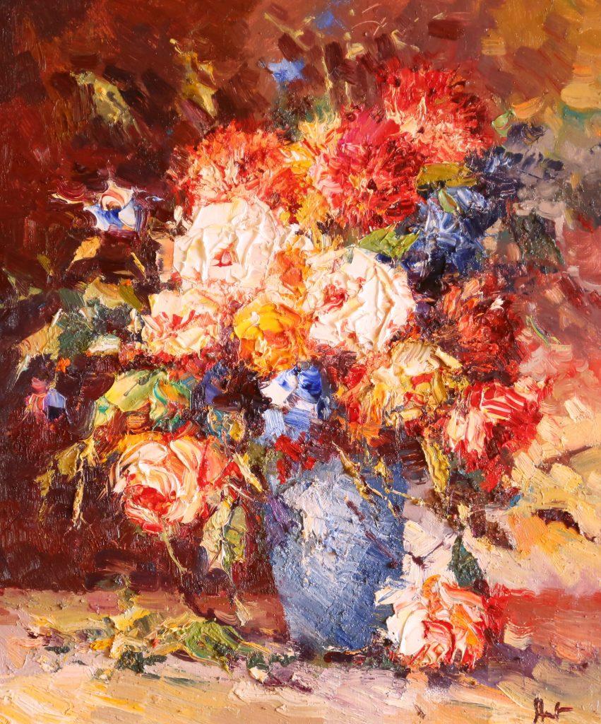 Иван Агеев. Розы в голубой вазе 60х50 см. 60