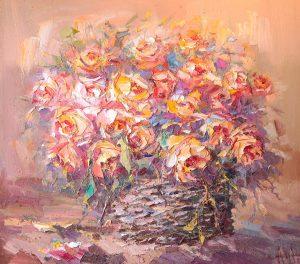 Иван Агеев. Розы в корзине 90х100 см. 200