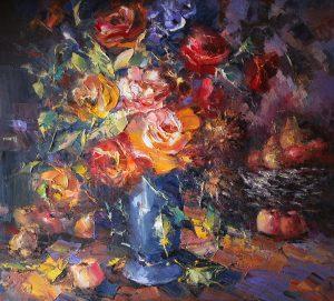 Иван Агеев. Цветы и фрукты 107х90 см. 250