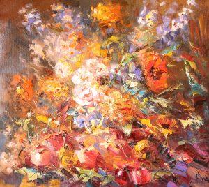 Иван Агеев. Цветы и яблоки 90х100 см. 300