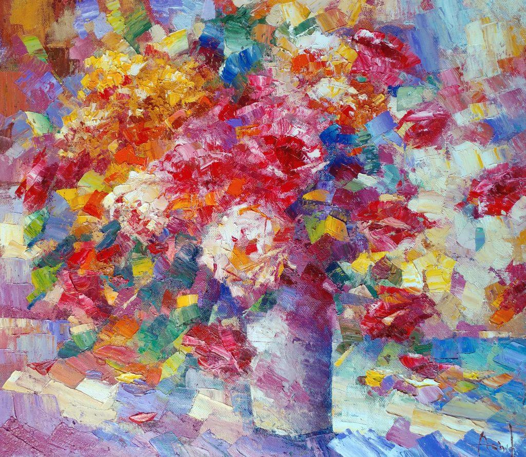 Иван Агеев. Яркий букет 70х80 см. 100. Серия Цветы